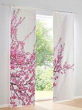 Heine Home Schiebevorhang 2er Set mit Digitaldruck Blumen weiß/rose, Größe:145/60 cm