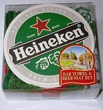 Heineken Bar Towel und 10 Bierdeckel (pp)