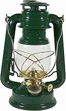 Heinze Petroleumlampe grün, mit Messingelementen,