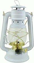 Heinze Petroleumlampe Weiss, mit Messingelementen,
