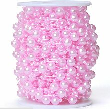 Heißer Verkauf 200 Fuß-Rolle 3 u. 8mm Perlen-Schnur-Korn-Girlande-Strang-Hochzeits-Dekoration DIY BrautPartei-Versorgungsmaterial-Fertigkeit-Dekor , Pink