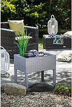 Heissner 015196-13 Rattan Terrassen-Hochteich mit Wasserspiel, grau
