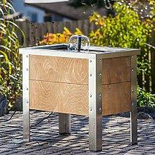 Heissner Terrassen-Hochteich Holz/Edelstahl mit Wasserspiel braun
