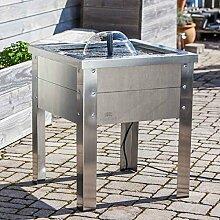 Heissner Terrassen-Hochteich Holz/Edelstahl mit Wasserspiel grau HT080-00