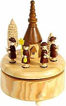 Heitmann Deco 91261 Spieluhr, Spieldose Weihnachten mit Sternensingern aus Holz, natur, 11,5 x 11,5 x 17 cm