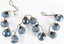 HEITMANN DECO Glaskugel-Girlande blau - dekorative