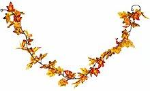 Heitmann Deco Herbst-Girlande mit Ahorn-Blättern in gelb/orange - Deko-Girlande mit Herbst-Laub - Kunststoff-Blätter