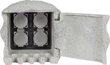 Heitronic 37505 Gartensteckdose 4fach Grau