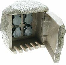 Heitronic 4fach Steinsteckdose mit 10m Anschlusskabel (granit)