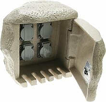 Heitronic Außenleuchte 4fach Steinsteckdose mit Anschluss für Erdkabel Grau IP44   36314