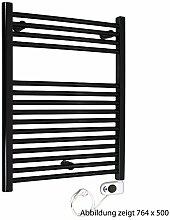 Heizkörper Badheizkörper rein elektrisch mit Thermo-Timer ELEKTRO schwarz gerade 764 x 750