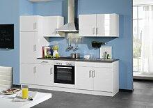 Held Möbel 690.6033 Küchenzeile 270 in Hochglanz-weiß / anthrazit mit E-Geräten