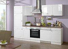 Held Möbel 691.6039 Küchenzeile 280 in Hochglanz-weiß / weiß / Nussbaum mit E-Geräten