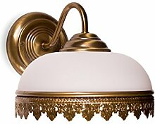 Helios Leuchten 304129 klassische Jugendstil Wandleuchte Wandlampe Lampe Leuchte echt MESSING bronziert 1 x E27, geeignet für LED Lampen