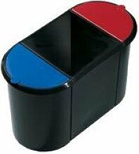 helit H6103598 Papierkorb Trio-System, oval, PE, schwarz/gelb/blau