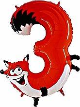 Helium-Ballon Tierische Zahl 3 Fuchs