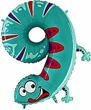 Helium-Ballon Tierische Zahl 9 Gecko
