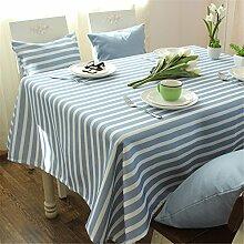 hellblau Weiß Gestreift Tischdecken Baumwolle leinen Japanischer Stil Mittelmeer Esstisch Rezeption rechteckigen Square nicht bügeln umweltfreundlich garten Tischtuch