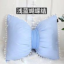Hellblaues Bett Kissen voll Baumwolle Prinzessin Kissen Stern/Liebe Cartoon Kissen, 30x45cm, ein