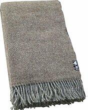 Hellbraun-graue Fischgrat Wolldecke aus 100% naturbelasssener skandinavischer Schurwolle, ca 200x130cm mit Fransen