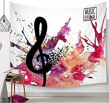 Helle Farbige Musik Noten Wandteppich Klavier