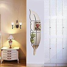 Helle Feder Wandaufkleber Spiegel, 3D Moderne Dekorative Spiegel Entfernbare Wandkunst für Wohnzimmer Schlafzimmer Büro Dekoration 120x30 cm (Links)