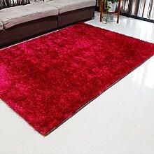 Helle Seidenfaden Linie Braun Teppich Wohnzimmer Couchtisch Nachtdecke 120 * 170 cm Einfache moderne Umwelthautfreundlich ( farbe : Rot )