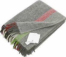 Hellgraue Wolldecke mit Fischgrat Streifen in grau, creme, violett, rot u. grün, 130x200cm aus Lambswool, ca 800g
