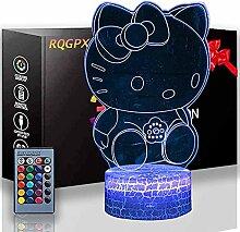 Hello Kitty 3D-Illusionslampe, Nachtlicht, 16