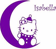 Hello-Kitty-Design, 47 cm x 40 cm, Farbe Purpple-Wunsch, personalisierbar Namen, alle Namen Kinderzimmer, Vinyl, Fenster und Auto-Aufkleber, Wand Windows-Art ThatVinylPlace Wandtattoo, Wandaufkleber Motiv