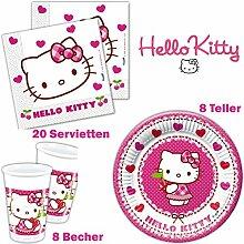 Hello Kitty Geburtstag: 36-teiliges Set, Teller, Servietten und Becher Kindergeburtstag Kindergeschirr 8 Personen
