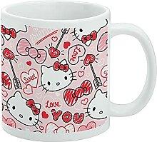 Hello Kitty Love You Valentinsmuster weiße Tasse
