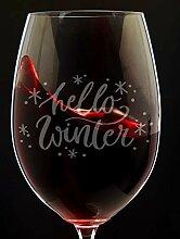 Hello Winter Weinglas Winter Tischdeko Weinglas
