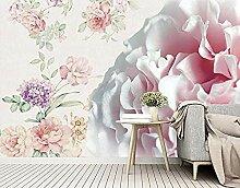 Hellrosa Blumentapeten Wand für Wohnzimmer und