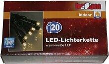 Hellum 563214, 20-tlg. LED-Lichterkette, LED warm-weiß, Innenbeleuchtung, Fassungsabstand 15cm, Zuleitung 2x1,5m, Kabel grün, GL: 5,85m