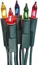 Hellum 835076, 50-tlg. Minikette, grün/bunt, Innenbeleuchtung, Fassungsabstand: 15 cm, Steckerzuleitung 2x1,5m, Pisellokerze mit Stecksockel, GL: 10,35m, Inkl. Ersatzlämpchen