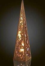 Hellum LED-Holzpyramide 57cm 10 BS Natur/warmweiß