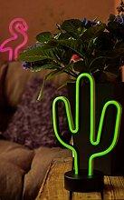 Hellum LED Kaktus, Neon, Grün, Tischlampe,