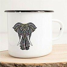 HELLWEG DRUCKEREI Emaille Tasse Bunter Elefant