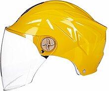 Helm/UV-Schutz Motorradhelm Sommer Sonnenschutz Helm Persönlichkeit Mode Vielfalt der Farbe optional Helm (Farbe : Gelb)