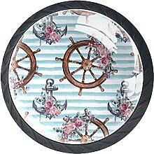 Helmanker mit blauer weißer Blume, Schrankknauf