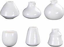 Hemoton 6Pcs Mini Hydroponik Vase Weiß Porzellan