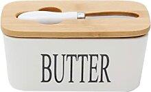 HEMOTON Keramik Butter Gericht mit Holz Deckel