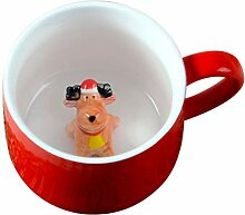 Hemoton Keramik Kaffeebecher Trinkbecher 400ml Rot