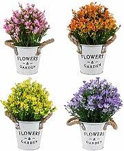 HEMOTON Künstliche Blumen im Topf Klein