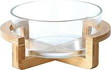 HEMOTON Salatschüssel aus Glas mit Holzständer,