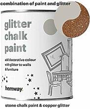 Hemway Stein Kreidefarbe (mit Glitzer) funkelnd matter Lack für Wand und Möbel, 1 Liter, Shabby Chic, Vintage, kreidiger Kristall, orange