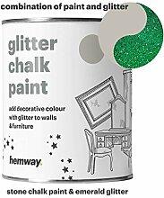 Hemway Stein Kreidefarbe (mit Glitzer) funkelnd matter Lack für Wand und Möbel, 1 Liter, Shabby Chic, Vintage, kreidiger Kristall, grün