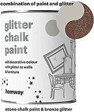 Hemway Stein Kreidefarbe (mit Glitzer) funkelnd matter Lack für Wand und Möbel, 1 Liter, Shabby Chic, Vintage, kreidiger Kristall, braun
