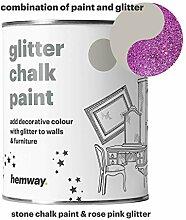 Hemway Stein Kreidefarbe (mit Glitzer) funkelnd matter Lack für Wand und Möbel, 1 Liter, Shabby Chic, Vintage, kreidiger Kristall, rosa